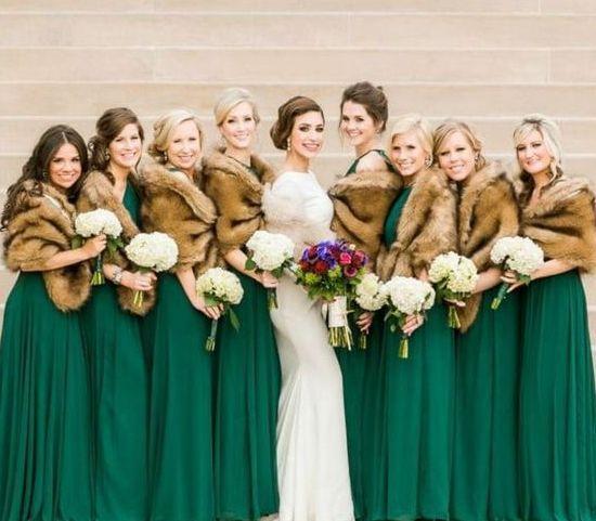 Emerald Green Gowns And Brown Faux Fur Cover Ups Winter Bridesmaid Dresses Emerald Bridesmaid Dresses Irish Wedding Dresses