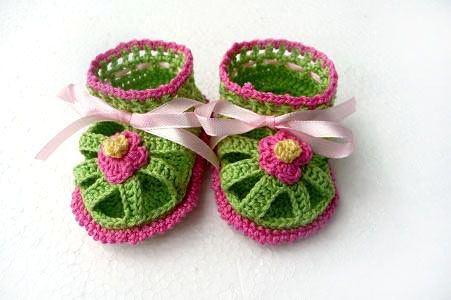 3f870b5adad08 Hot Pink and green Baby Crochet Sandals size 03 Months by Sissta ...