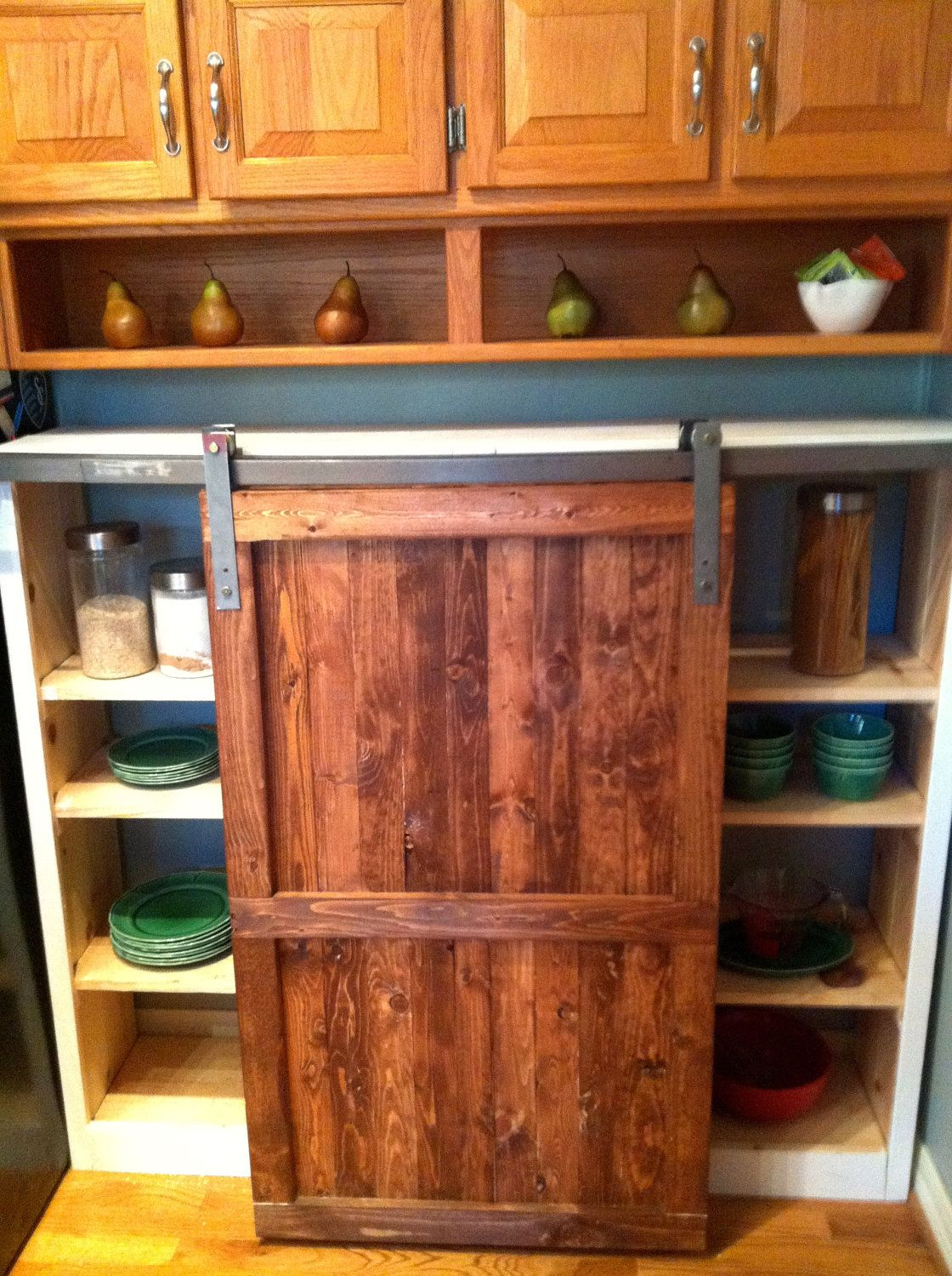 Distressed Wood Kitchen Cabinets Pre-rinse Faucet Barn Door Cabinet Custom