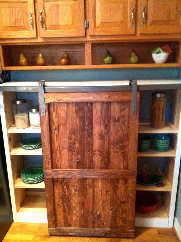 Barn door distressed wood cabinet custom kitchen furniture