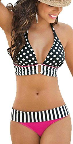 OYMMENEY women Girls 2pcs Set Polka Dots Padded Bra Swimwear Top Red Line Bikini L >>> You can get more details by clicking on the image.
