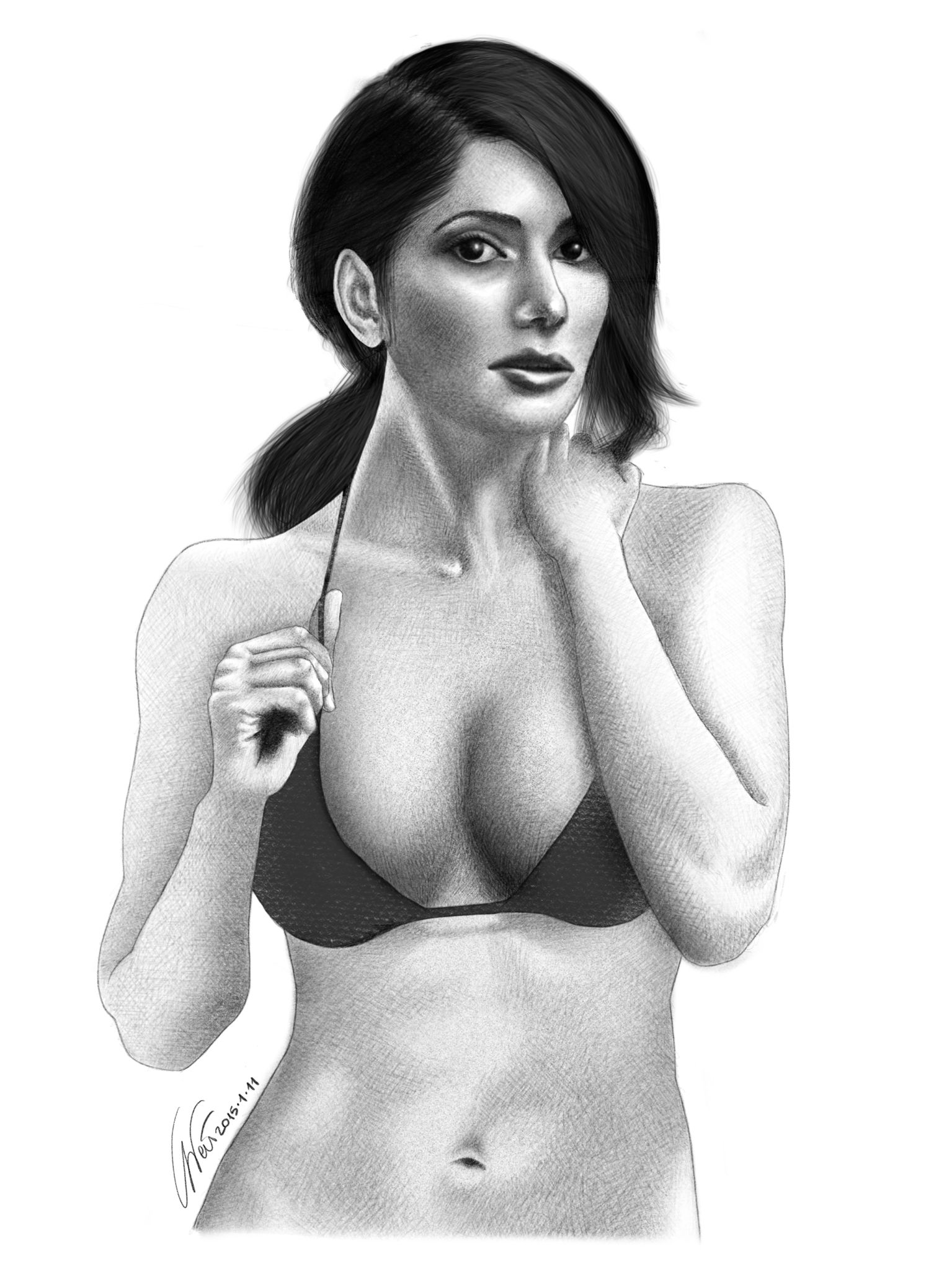 "Here's my last drawing, portraying the wonderful @theonlysarahshahi. I think it will be my last ""wannabe realistic"" drawing for a while, for these two reasons: one, it takes too much time to have something I'm pleased with (and sometimes I'm not even pleased); two: I'd like to spend some time on a different genre. By the way, it's been six months since I started #LearningToDrawFromScratch  ---  Ecco il mio ultimo disegno. Lei è la bellissima Sarah Shahi. Credo sarà il mio ultimo disegno con…"