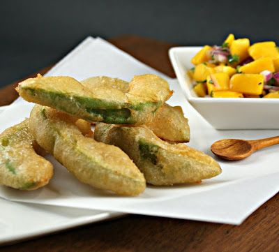 Beer-Battered Fried Avocado Wedges with Mango Salsa