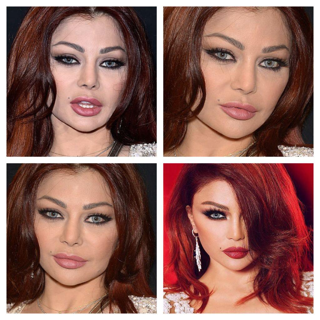 Haifa Wehbe Reality Vs Extrem Photoshop Redhair Haifa Real