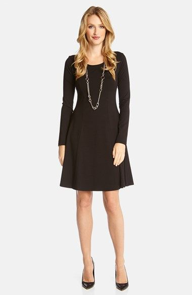 Karen Kane Black Seam Detail Jersey Fit & Flare Dress | Nordstrom #Karen_Kane  #Black #Seam #Detail #Jersey #Fit #Flare #LBD #Dress #Nordstrom #Fashion