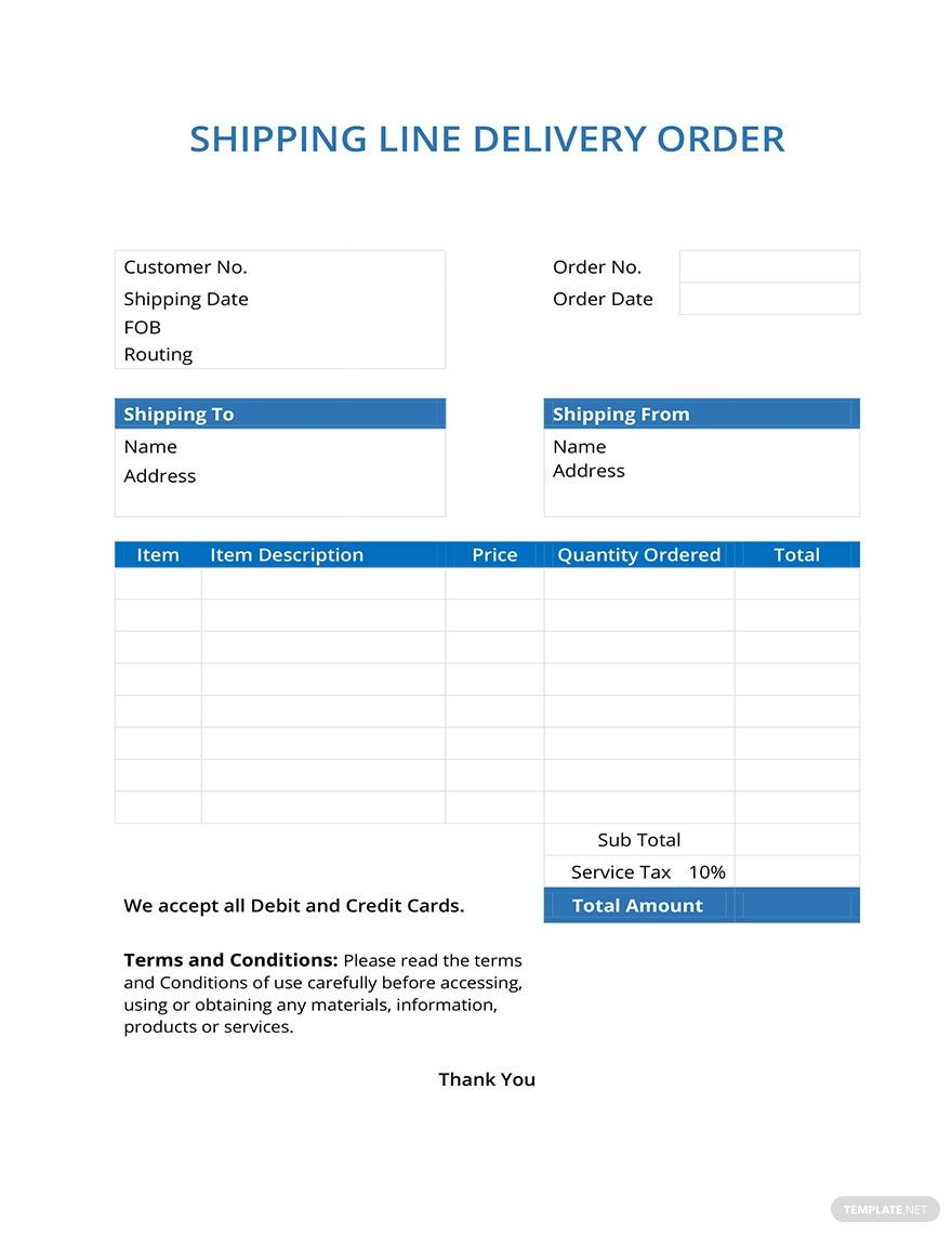 Free Shipping Line Delivery Order in 2020 Templates