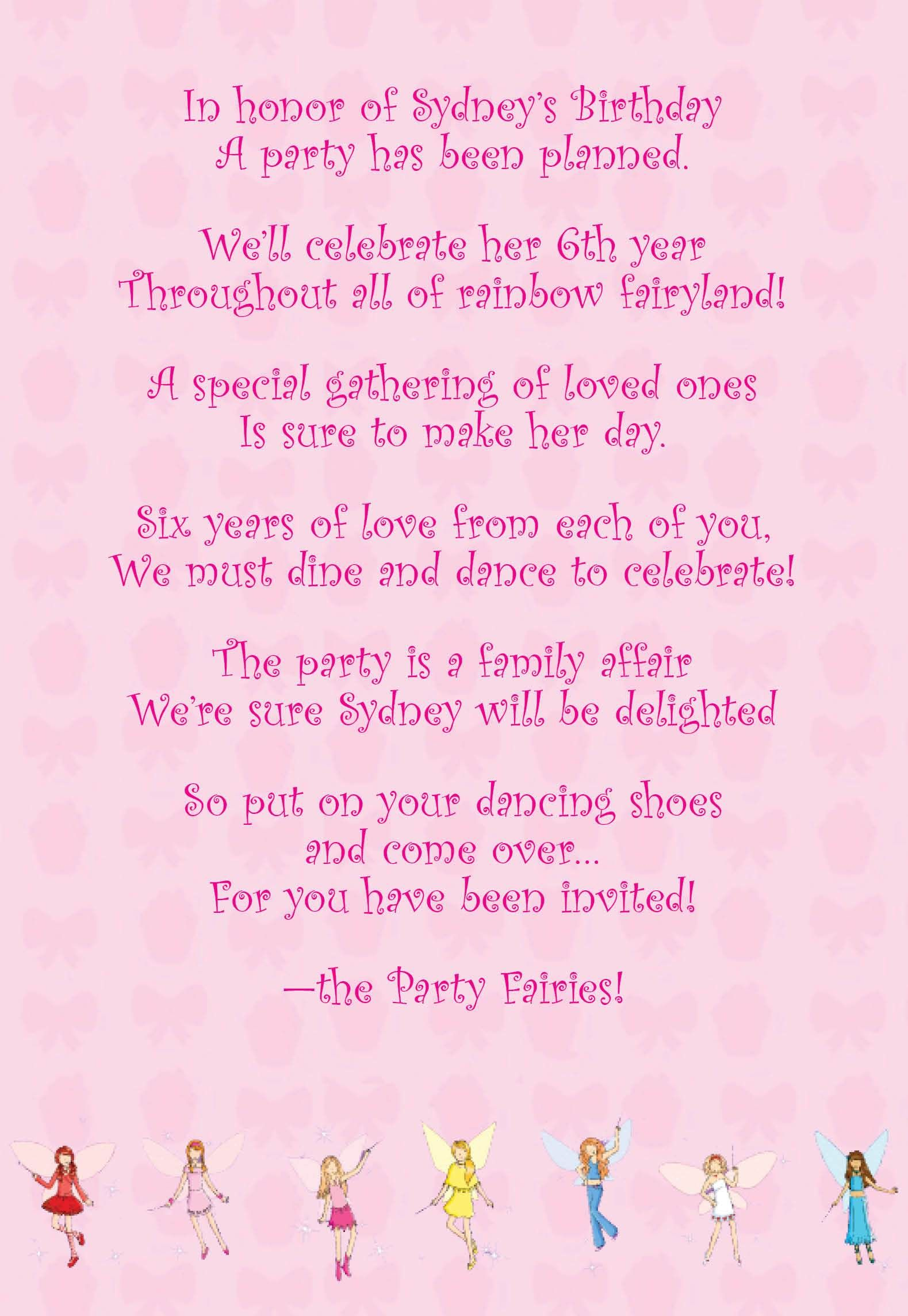 I Used The Format Of Prelude Poem For Invitation Language Rainbow Magic Party 1 Her Family