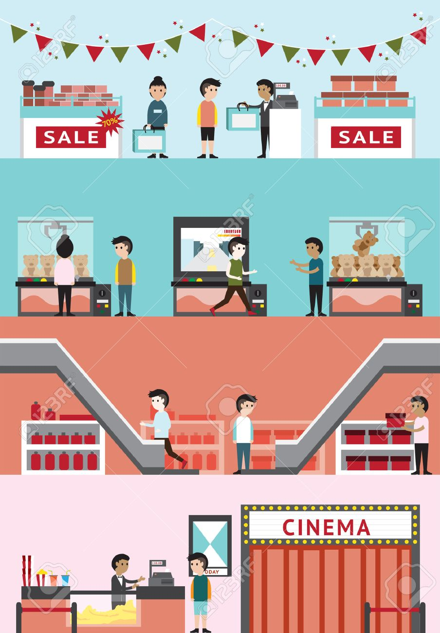 Almacenes De Dibujos Animados Plana Construir El Diseno De Interiores Y El Diseno Para El Cine Descuento Venta De Productos De Temporada En Navidad Centro De Cine Tiendas De Regalos