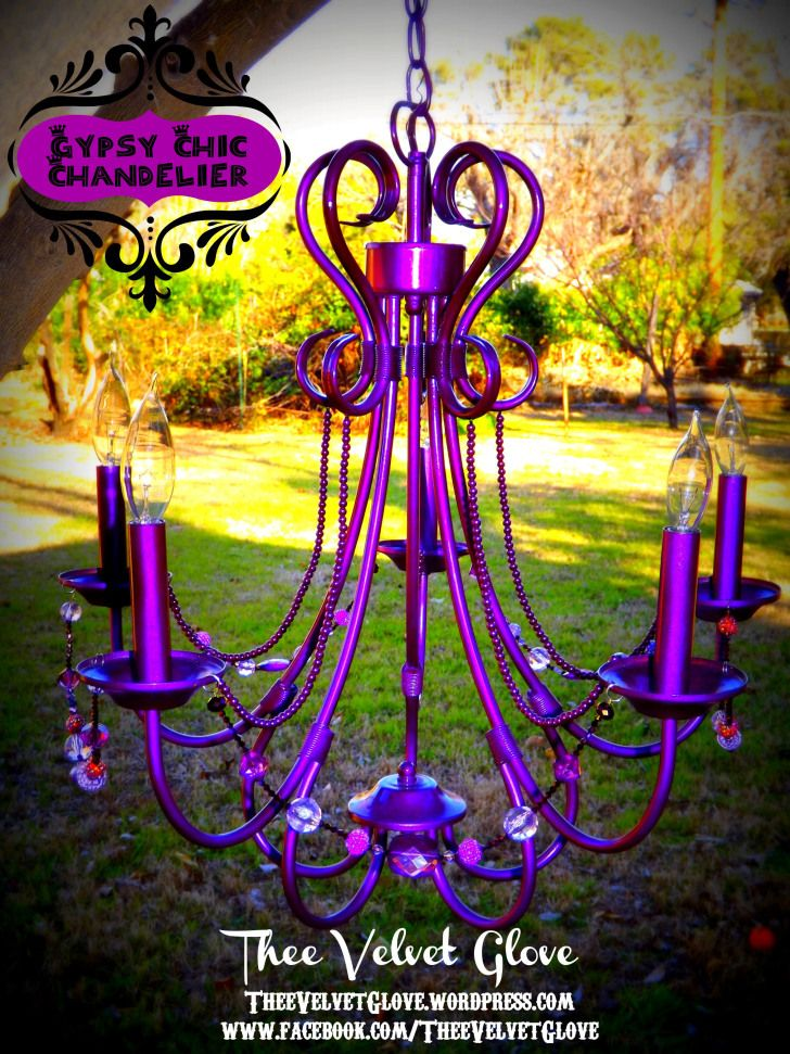 Painted purple chandelier! I love these colors! (Or is it one color, with reflections?)