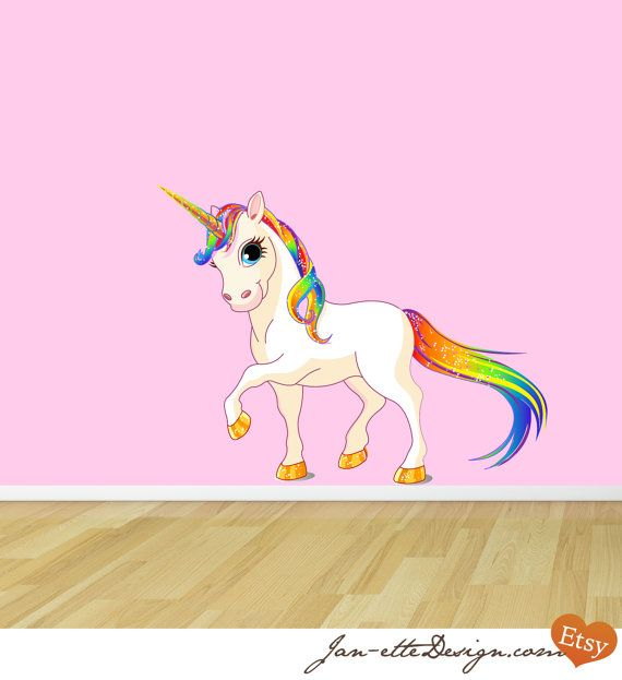 Princess Rainbow Unicorn Reusable Fabric Wall Decal With Images