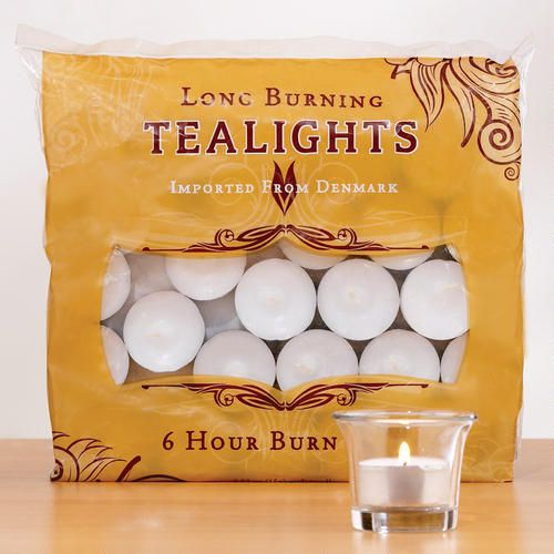 One of my favorite discoveries at WorldMarket.com: White Long-Burning Tealight Candles, Bag of 50-Clean burning and for 6 hours~