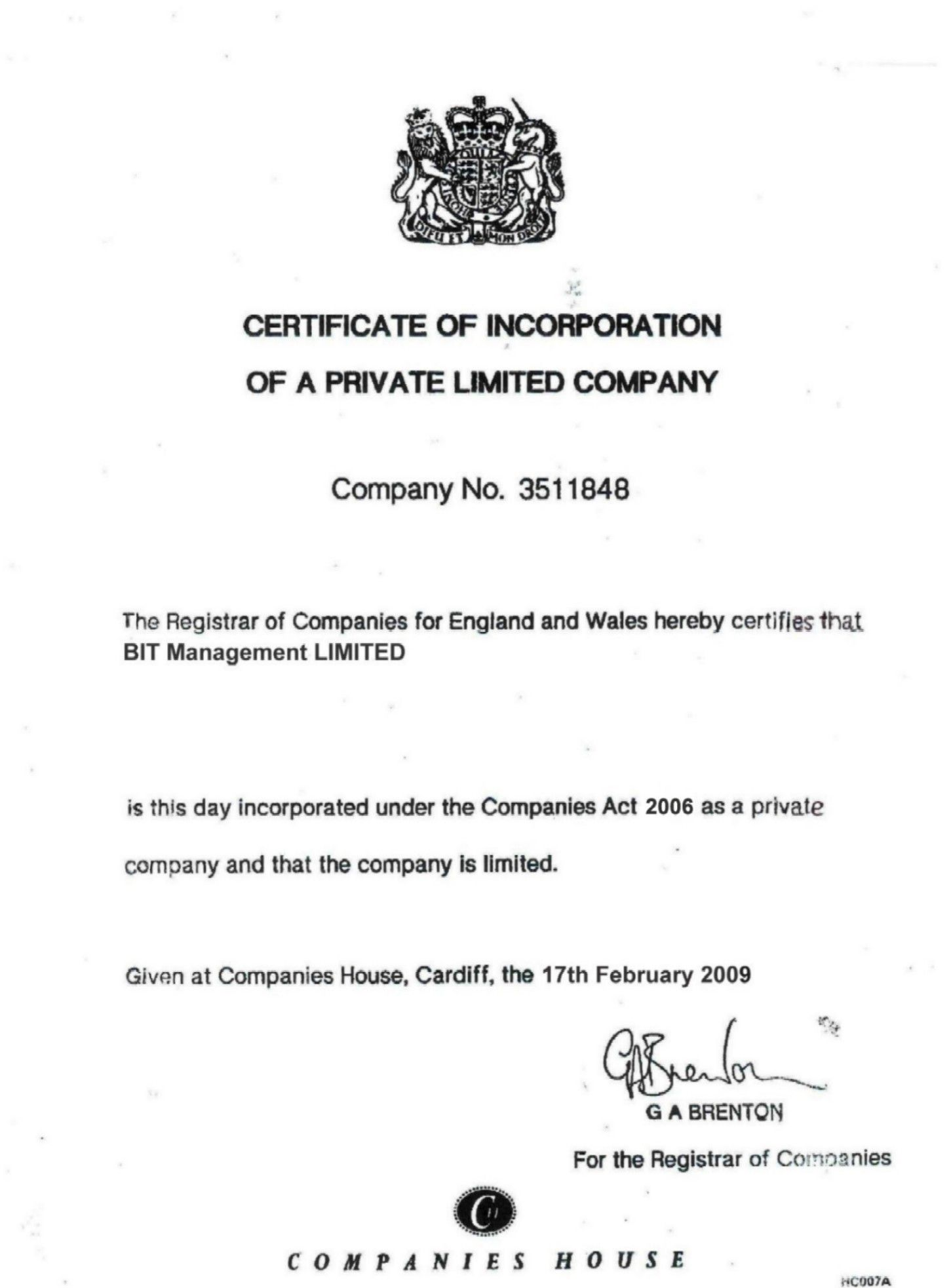 Certificate Of Incorporation 17 Feb 2009 Something Free Too