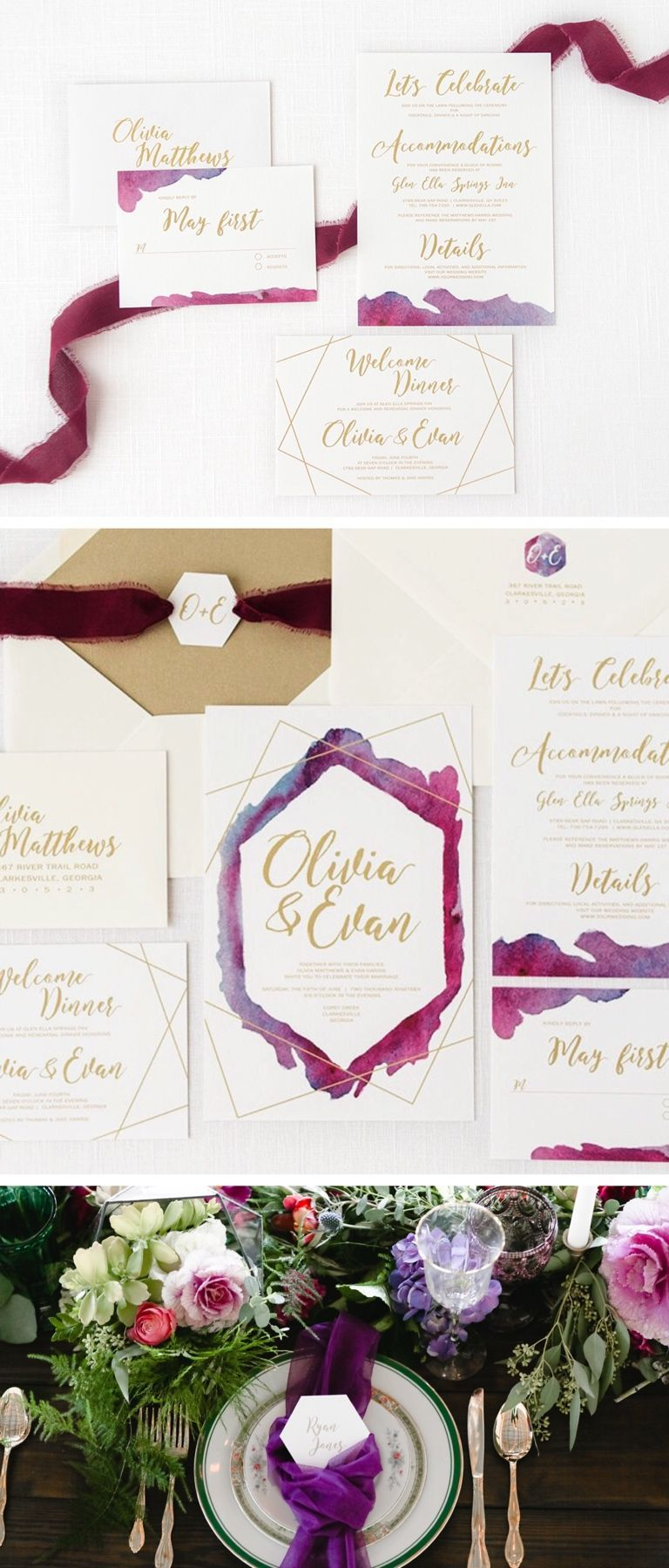 Geometric Watercolor Wedding Invitation with Gold Envelope Liners ...