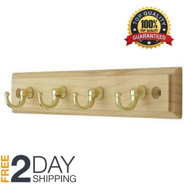 4 Hook Key Rack Hanger Jewelry Car Keys Holder Wall-Mounted Wood 9 ...