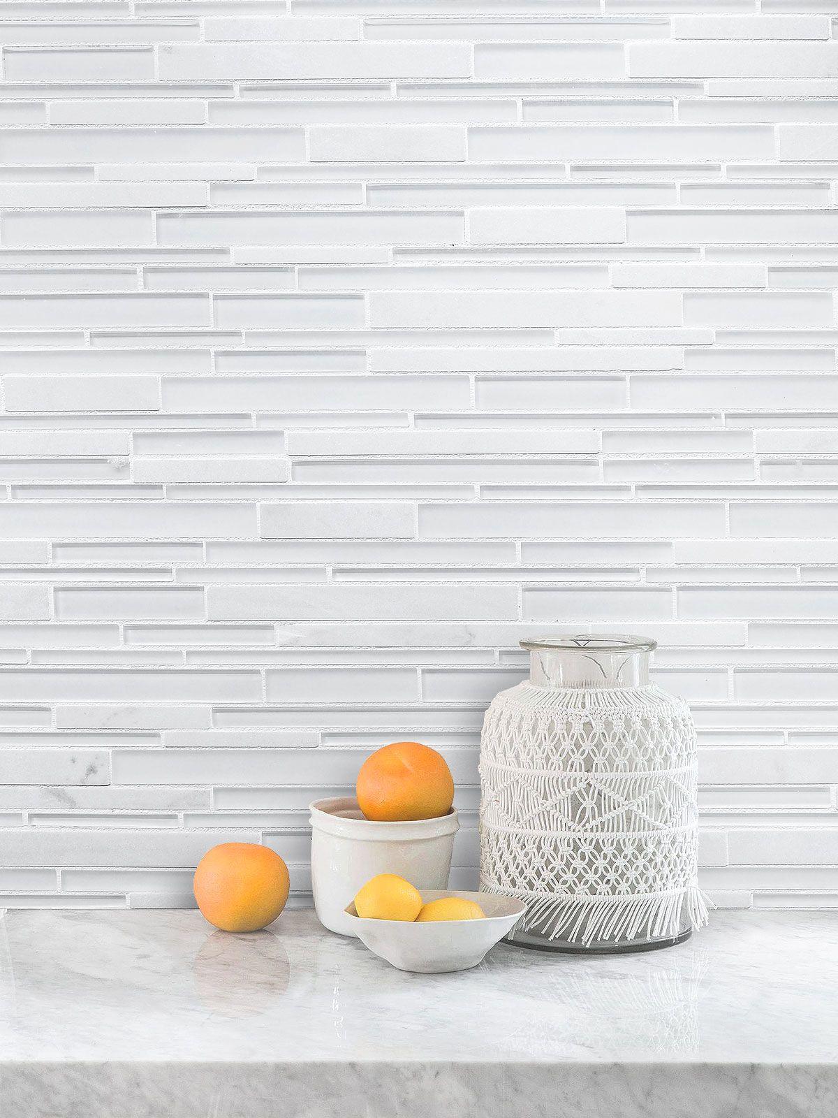 White Glass Marble Linear Backsplash Tile Backsplash Com Glass Backsplash Glass Tile Backsplash Kitchen White Glass Tile