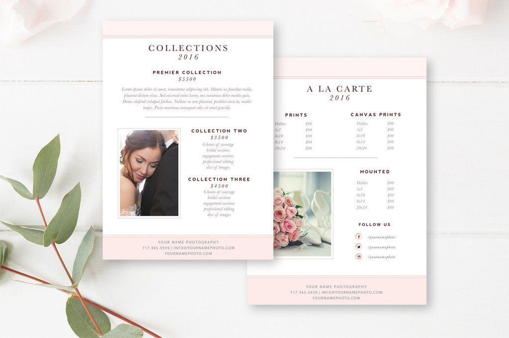 Photography Price List Template - Pricing Sheet Guide Photographer - Price Sheet Template