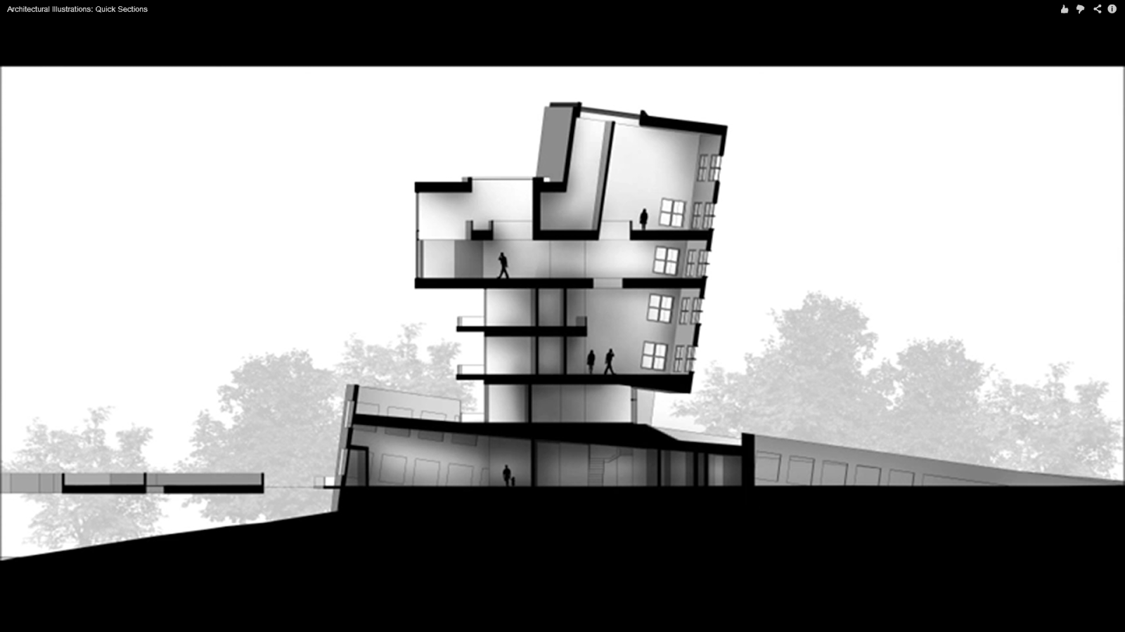 The architectural student section rendering sketchup and for Architecture plan