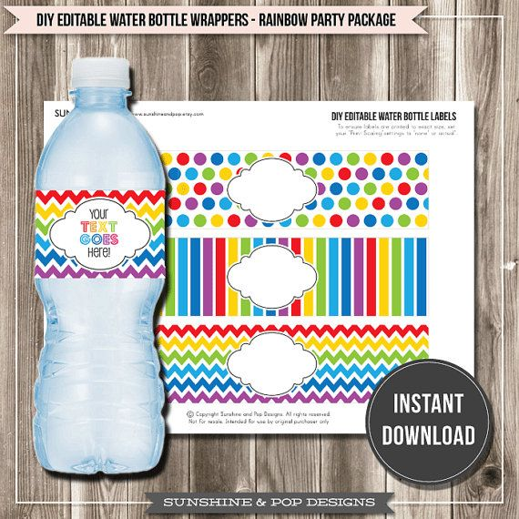 INSTANT DOWNLOAD - DIY Editable Rainbow Water Bottle Labels ...