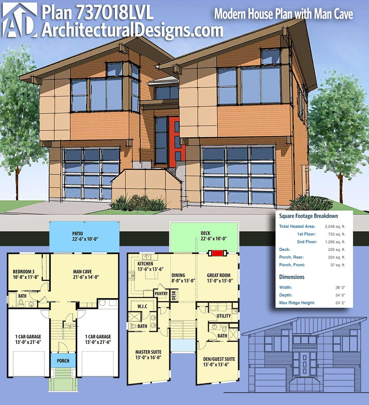 Plan 737018lvl Modern House Plan With Man Cave Modern House Plan Architectural Design House Plans Modern House Plans