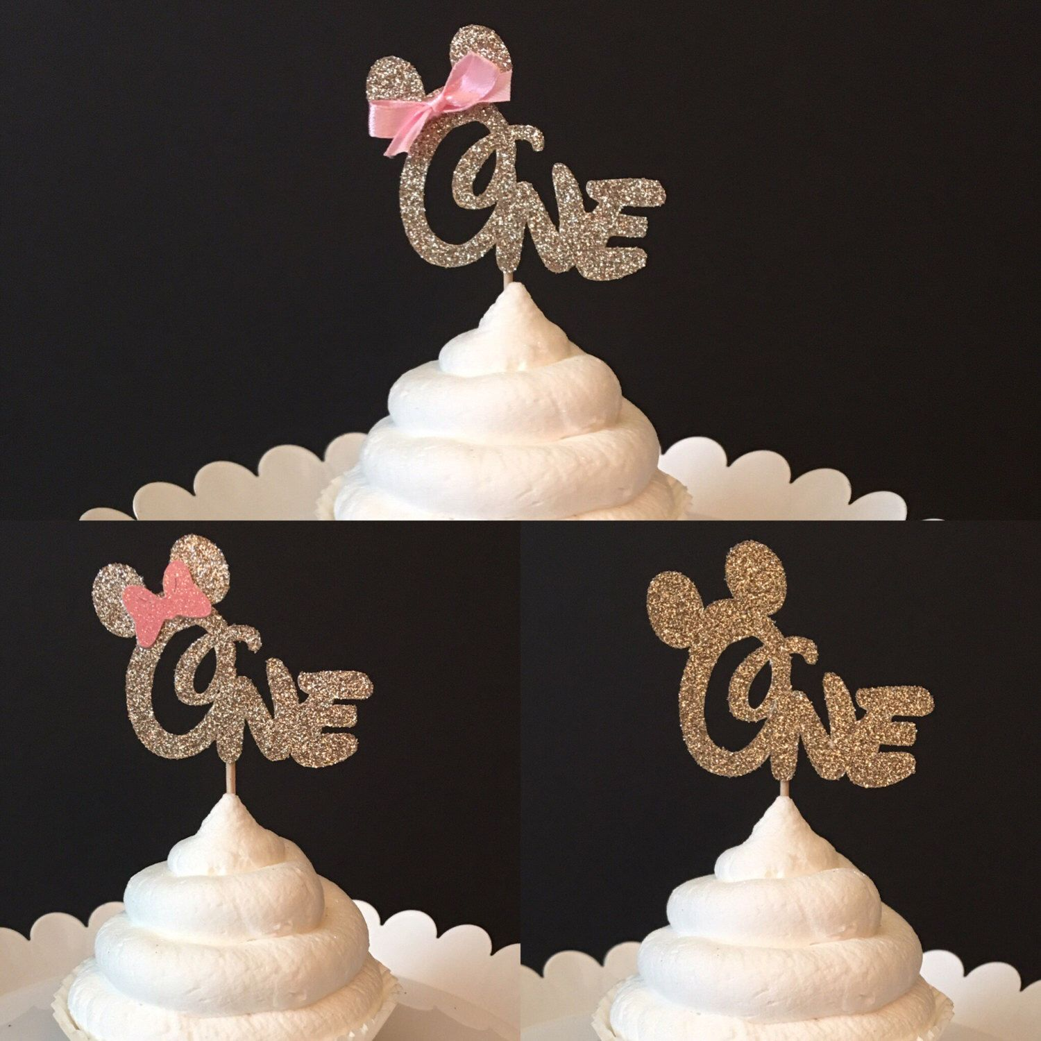Set of 12 Mickey Mouse First Birthday cupcake toppers Minnie