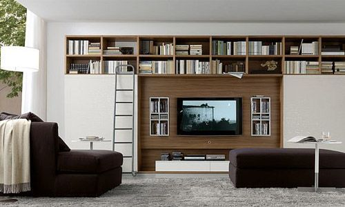 Love the upper shelves across white cabinets and wood details need to cover tv · bancs de stockagerangement salonambiance