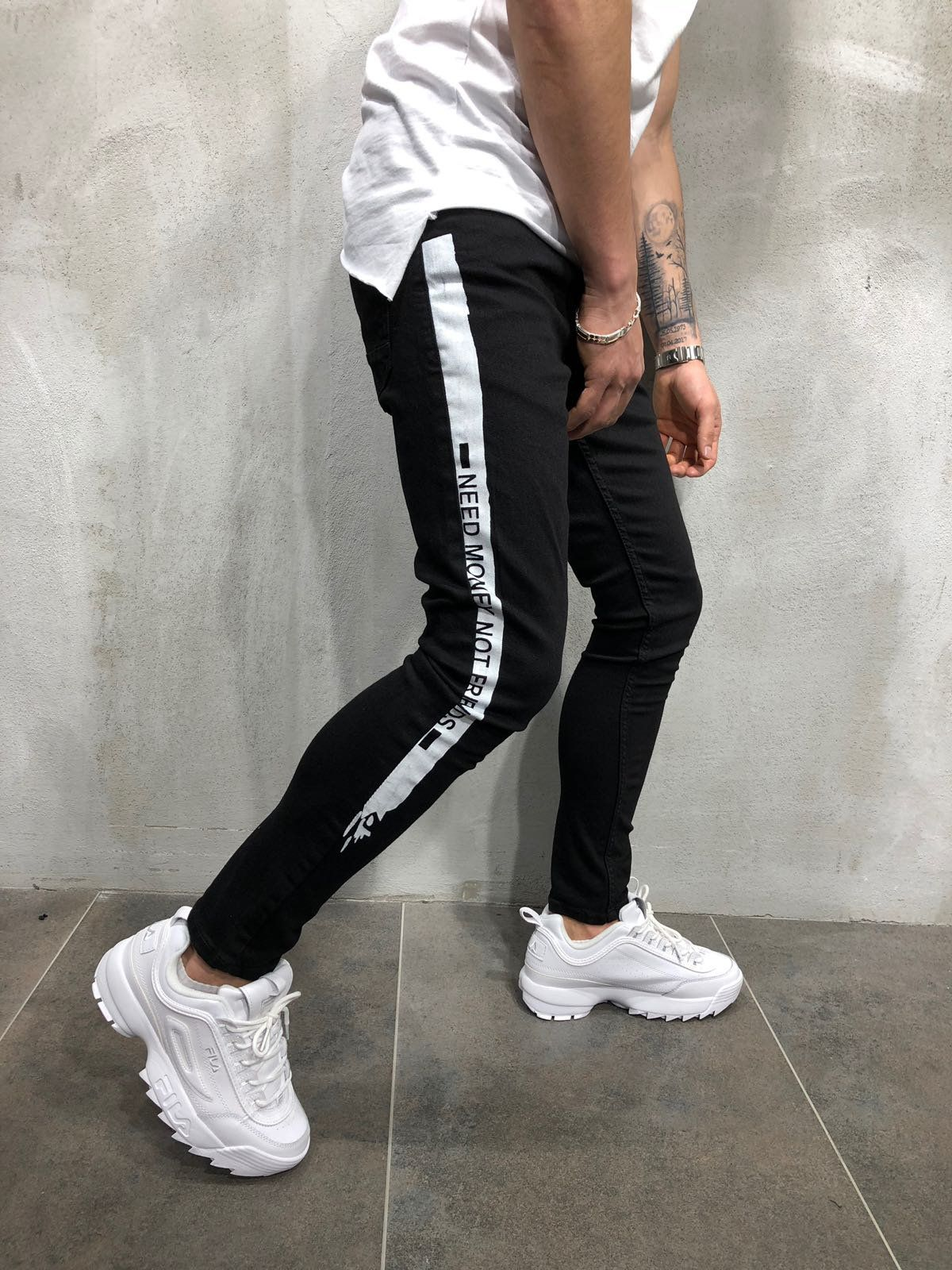 28b41432aae Side Stripe Skinny Jeans - Black/White . . . . #Stripejeans #skinnyfit  #StreetwearStyle