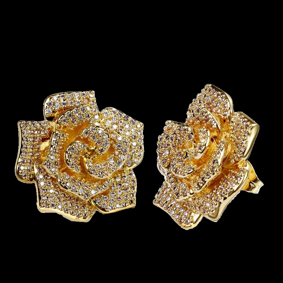 Luxury Flower Stud Earring With High Quality Cz Stone