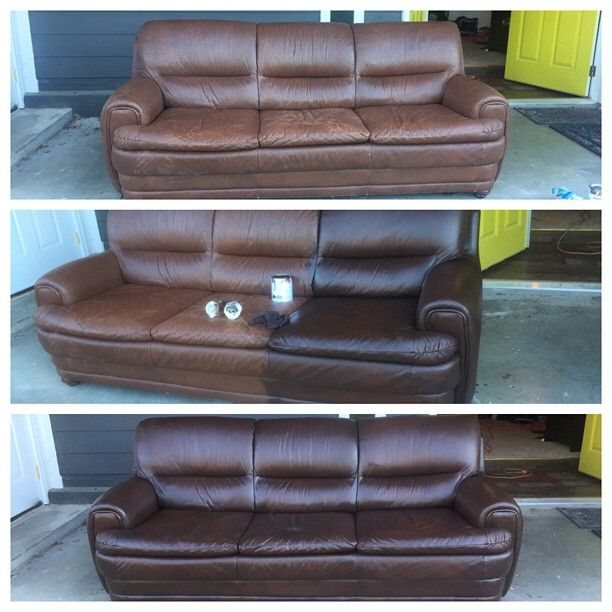 Staining A Leather Couch Couch Makeover Leather Couch Diy Couch