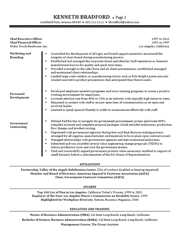 Ceo Cfo Executive Resume Examples Executive Resume Resume References