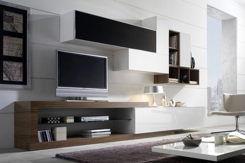 Composici n modular 12 en blanco negro y nogal oscuro for Mueble salon lacado alto brillo
