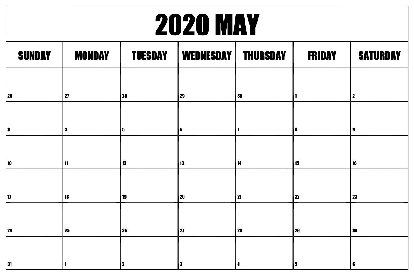 May 2020 Calendar Printable Template With Holidays Calendar