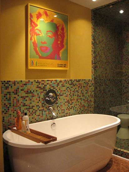 Glass tile mosaic bathroom DIY Pinterest Mosaic bathroom