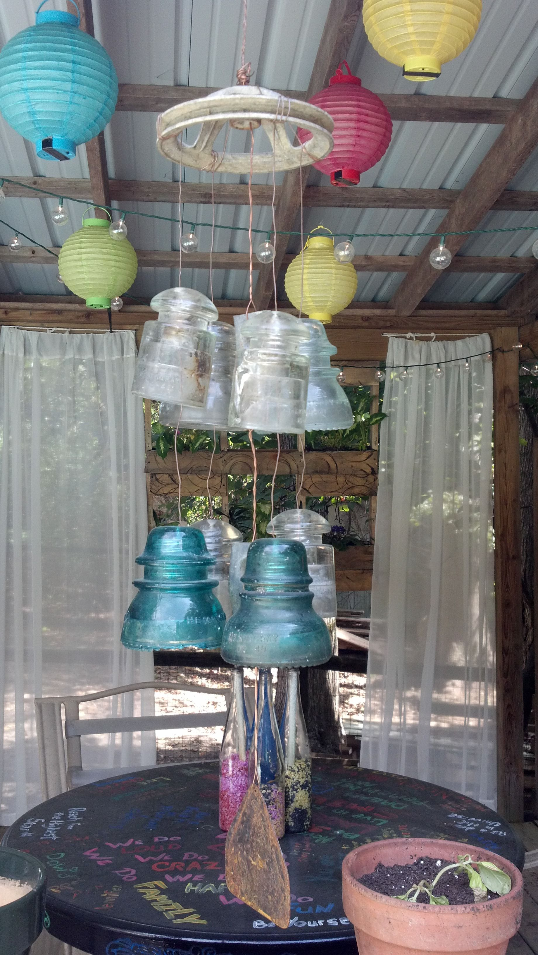 Wind chime made from glass insulators