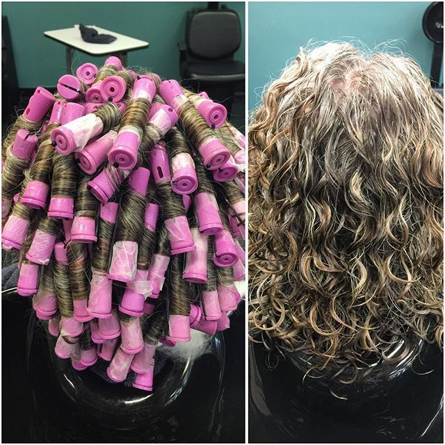 Spiral Perm On White Rods See More Photo From Kristys Styles Short Permed Hair Spiral Perm Long Hair Perm