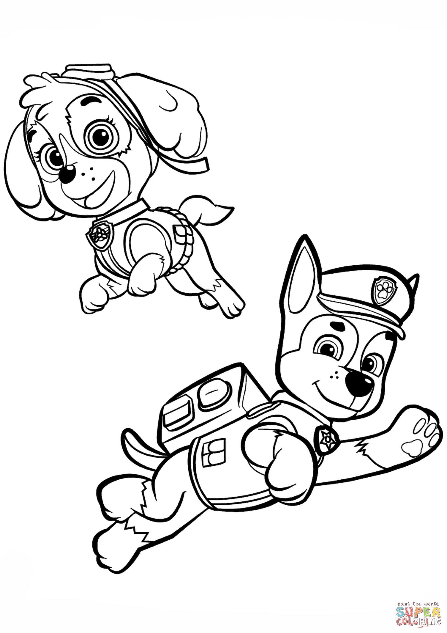 Chase and Skye coloring page Free Printable Coloring