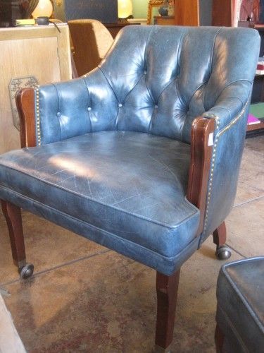 Blue Distressed Leather Chair On Casters | Casa Victoria LA | Seating