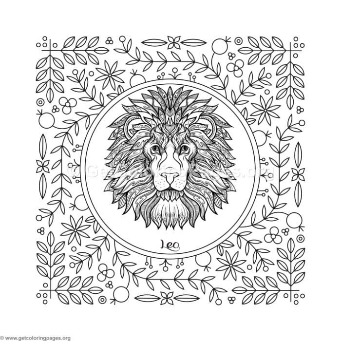Free instant download Leo Zodiac Element Coloring Pages # ...