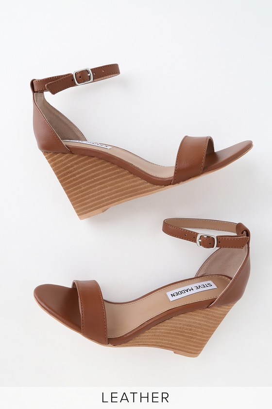 Mary Cognac Leather Wedge Sandals