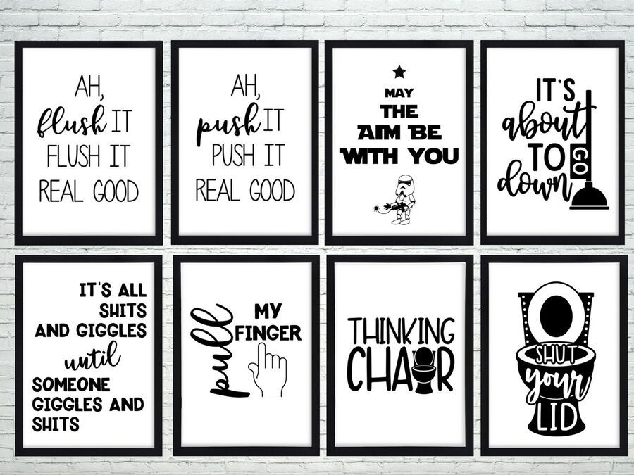 Details About Bathroom Prints Wall Art Poster Quality Toilet