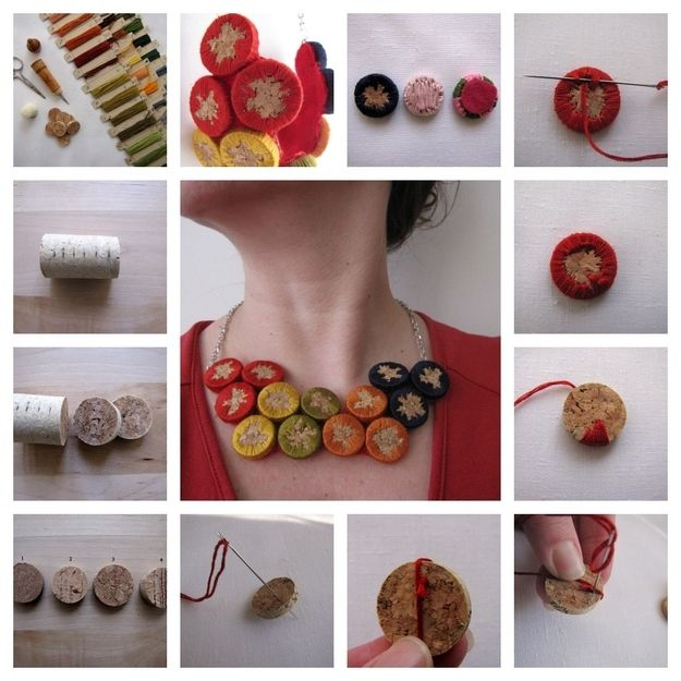 Embroidered Cork Necklace, 25 Things You Can DIY With Corks
