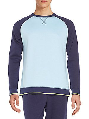Psycho Bunny Cotton Jersey Colorblock Lounge Top - Blue Bell - Size