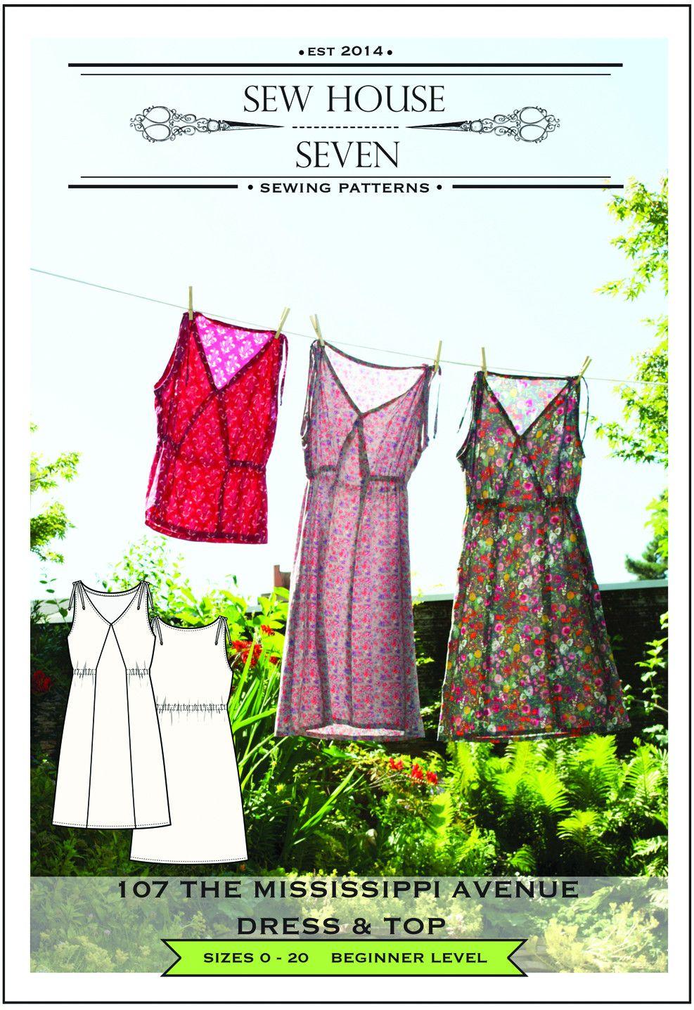 The Mississippi Avenue Dress & Top Sewing Pattern | Nähen, Oberteile ...