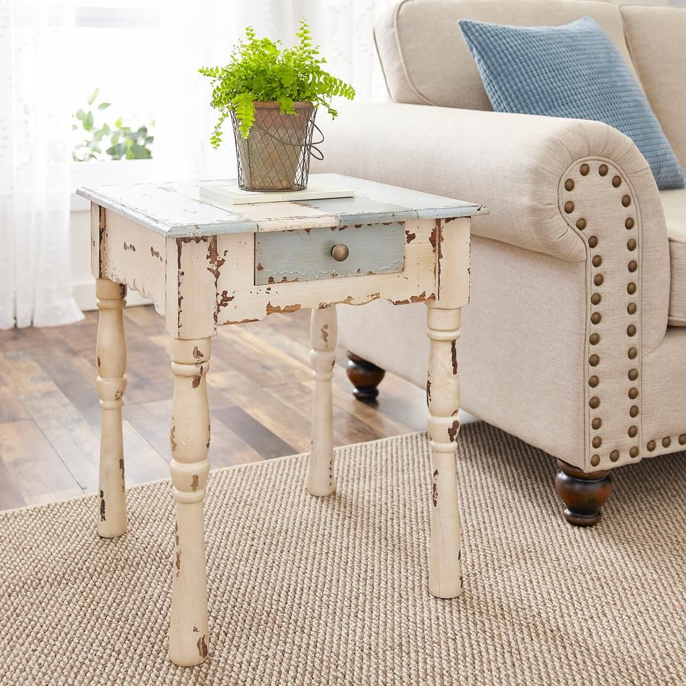 Southern Enterprises Caitlyn Antique White with BlueGray