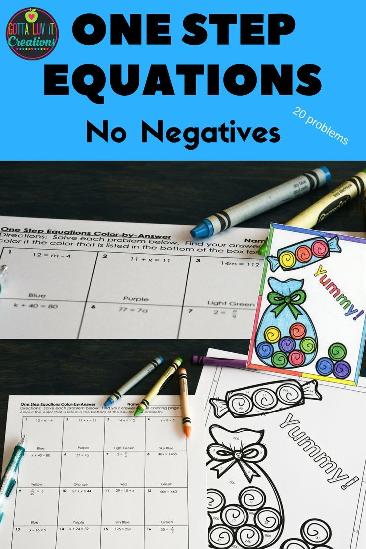 small resolution of One Step Equations Color by Number Coloring Page designed specifically for 6th  Grade 6.EE.B.7. This product c…   One step equations
