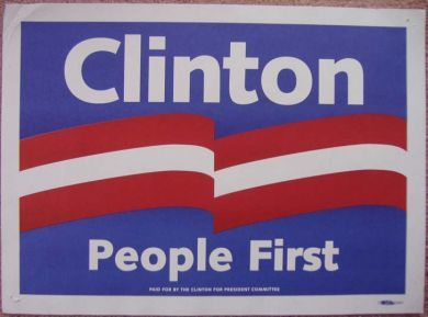early bill clinton primary poster slogan changed to the victor