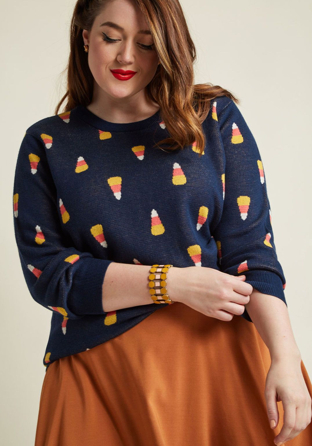 Candy Corn Intarsia Sweater in 2019 Halloween fashion