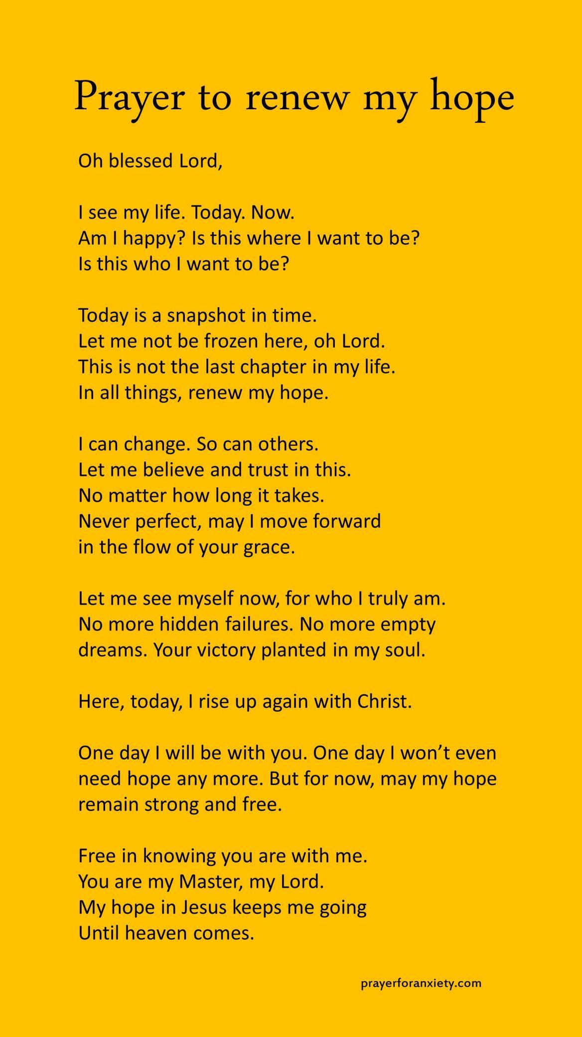 Prayer to renew my hope