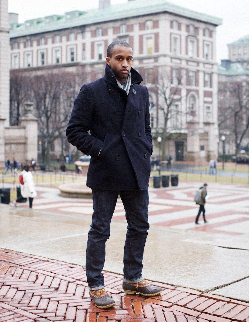 51fd0cf9552 L. L. BEAN BOOTS + NAVY PEACOAT | mens fashions | Bean boots men ...
