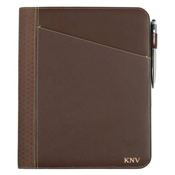 Brown Gold Monogram Leather Writing Pad Binder