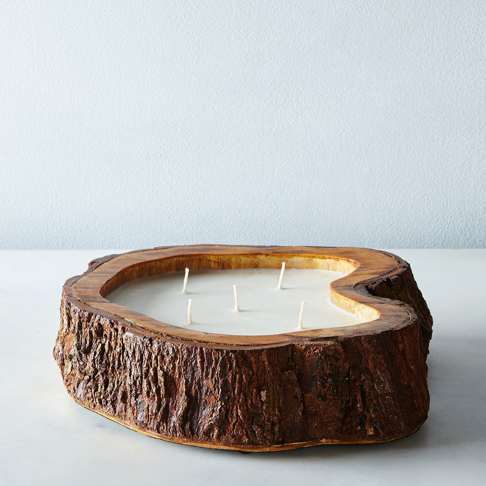 Natural Tree Trunk Candle #wood